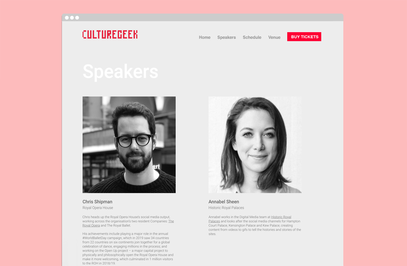 Conference marketing website